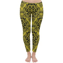 Damask1 Black Marble & Yellow Leather Classic Winter Leggings