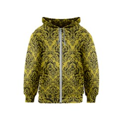 Damask1 Black Marble & Yellow Leather Kids  Zipper Hoodie