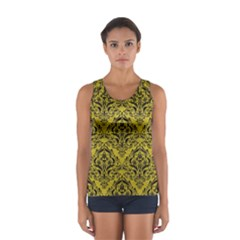 Damask1 Black Marble & Yellow Leather Sport Tank Top