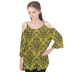 Damask1 Black Marble & Yellow Leather Flutter Tees