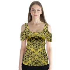 Damask1 Black Marble & Yellow Leather Butterfly Sleeve Cutout Tee