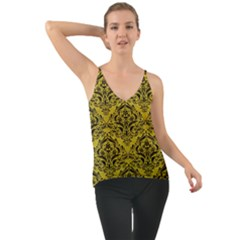 Damask1 Black Marble & Yellow Leather Cami