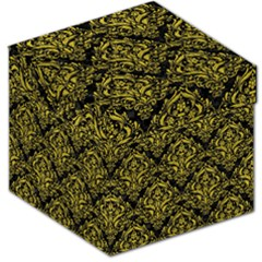 Damask1 Black Marble & Yellow Leather (r) Storage Stool 12