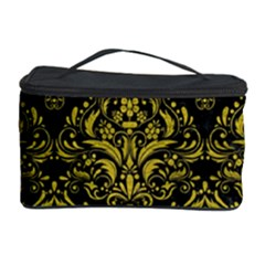 Damask1 Black Marble & Yellow Leather (r) Cosmetic Storage Case