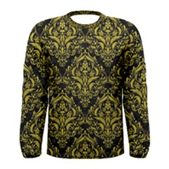 Damask1 Black Marble & Yellow Leather (r) Men s Long Sleeve Tee