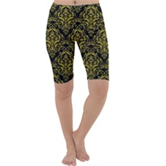 Damask1 Black Marble & Yellow Leather (r) Cropped Leggings