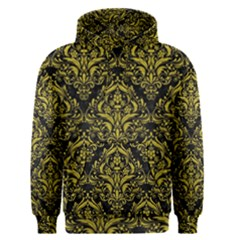 Damask1 Black Marble & Yellow Leather (r) Men s Pullover Hoodie