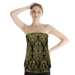 Damask1 Black Marble & Yellow Leather (r) Strapless Top