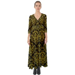 Damask1 Black Marble & Yellow Leather (r) Button Up Boho Maxi Dress