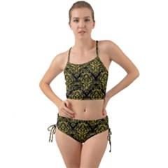 Damask1 Black Marble & Yellow Leather (r) Mini Tank Bikini Set
