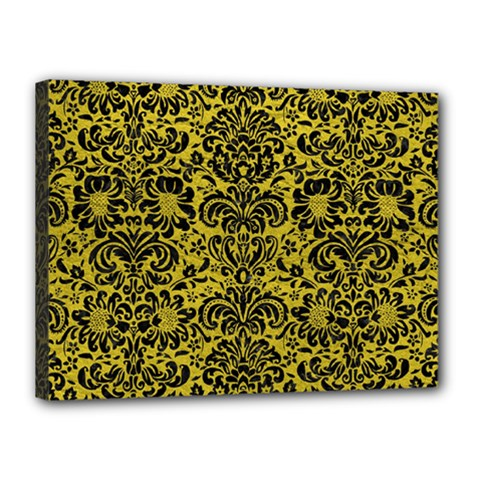 Damask2 Black Marble & Yellow Leather Canvas 16  X 12