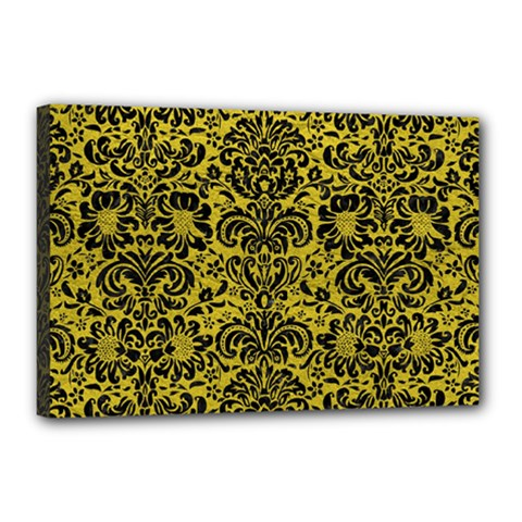Damask2 Black Marble & Yellow Leather Canvas 18  X 12