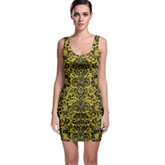 Damask2 Black Marble & Yellow Leather Bodycon Dress