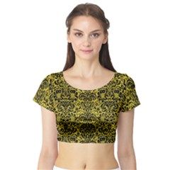 Damask2 Black Marble & Yellow Leather Short Sleeve Crop Top