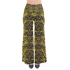 Damask2 Black Marble & Yellow Leather Pants