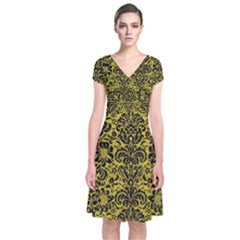 Damask2 Black Marble & Yellow Leather Short Sleeve Front Wrap Dress