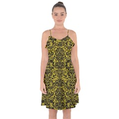 Damask2 Black Marble & Yellow Leather Ruffle Detail Chiffon Dress
