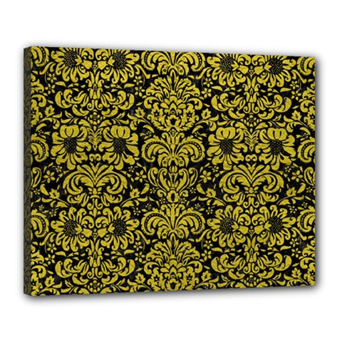 Damask2 Black Marble & Yellow Leather (r) Canvas 20  X 16