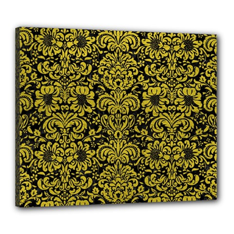 Damask2 Black Marble & Yellow Leather (r) Canvas 24  X 20