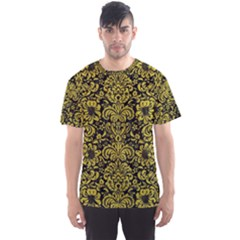 Damask2 Black Marble & Yellow Leather (r) Men s Sports Mesh Tee
