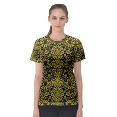 Damask2 Black Marble & Yellow Leather (r) Women s Sport Mesh Tee