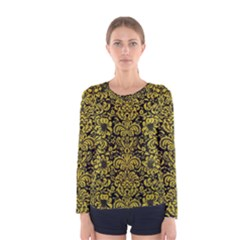 Damask2 Black Marble & Yellow Leather (r) Women s Long Sleeve Tee