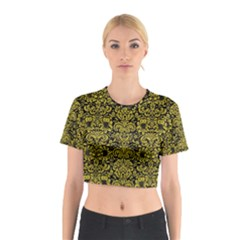 Damask2 Black Marble & Yellow Leather (r) Cotton Crop Top