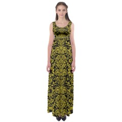 Damask2 Black Marble & Yellow Leather (r) Empire Waist Maxi Dress