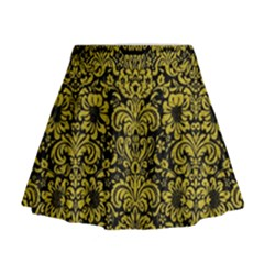 Damask2 Black Marble & Yellow Leather (r) Mini Flare Skirt