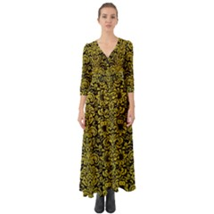Damask2 Black Marble & Yellow Leather (r) Button Up Boho Maxi Dress