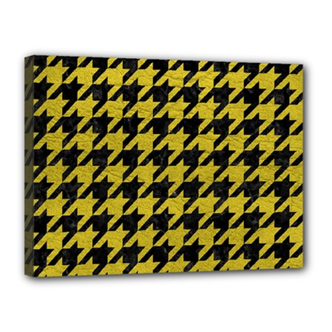 Houndstooth1 Black Marble & Yellow Leather Canvas 16  X 12