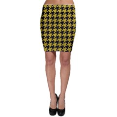 Houndstooth1 Black Marble & Yellow Leather Bodycon Skirt