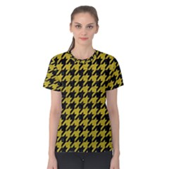 Houndstooth1 Black Marble & Yellow Leather Women s Cotton Tee