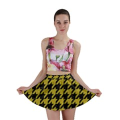 Houndstooth1 Black Marble & Yellow Leather Mini Skirt