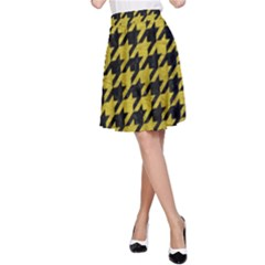 Houndstooth1 Black Marble & Yellow Leather A Line Skirt