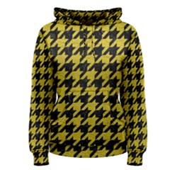 Houndstooth1 Black Marble & Yellow Leather Women s Pullover Hoodie