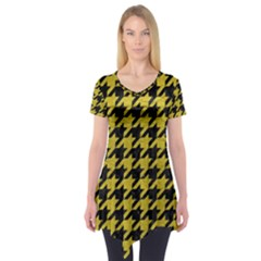 Houndstooth1 Black Marble & Yellow Leather Short Sleeve Tunic