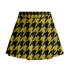 Houndstooth1 Black Marble & Yellow Leather Mini Flare Skirt