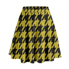 Houndstooth1 Black Marble & Yellow Leather High Waist Skirt