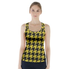 Houndstooth1 Black Marble & Yellow Leather Racer Back Sports Top