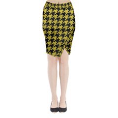 Houndstooth1 Black Marble & Yellow Leather Midi Wrap Pencil Skirt