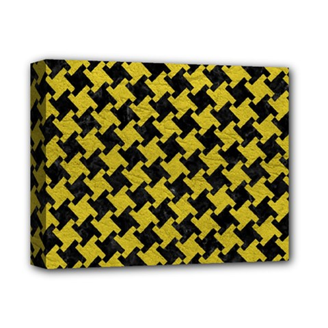 Houndstooth2 Black Marble & Yellow Leather Deluxe Canvas 14  X 11
