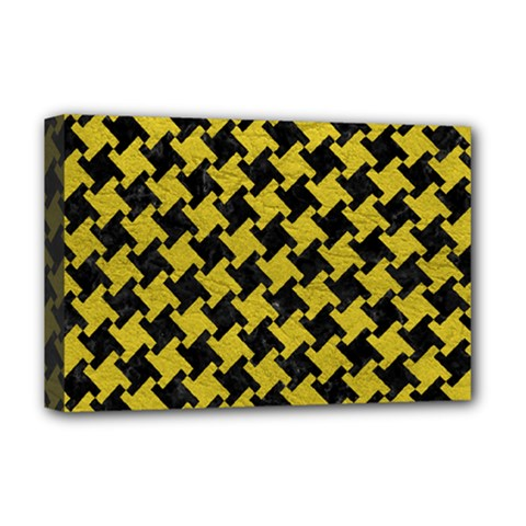 Houndstooth2 Black Marble & Yellow Leather Deluxe Canvas 18  X 12
