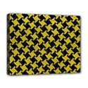 HOUNDSTOOTH2 BLACK MARBLE & YELLOW LEATHER Deluxe Canvas 20  x 16   View1