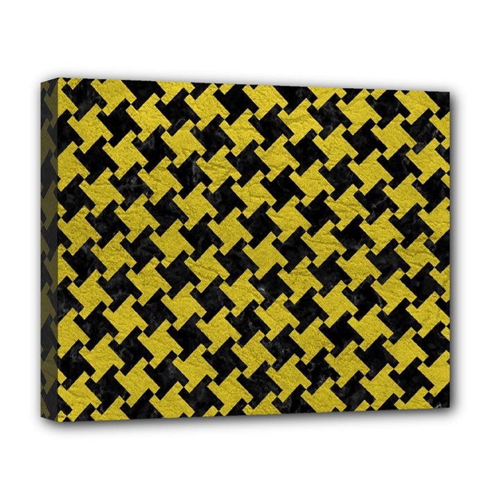 HOUNDSTOOTH2 BLACK MARBLE & YELLOW LEATHER Deluxe Canvas 20  x 16