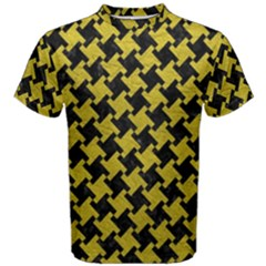 Houndstooth2 Black Marble & Yellow Leather Men s Cotton Tee