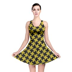 Houndstooth2 Black Marble & Yellow Leather Reversible Skater Dress