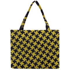 Houndstooth2 Black Marble & Yellow Leather Mini Tote Bag