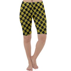 Houndstooth2 Black Marble & Yellow Leather Cropped Leggings