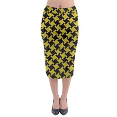 Houndstooth2 Black Marble & Yellow Leather Midi Pencil Skirt